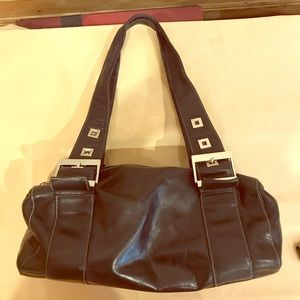 Perlina black leather and white metal shoulder bag